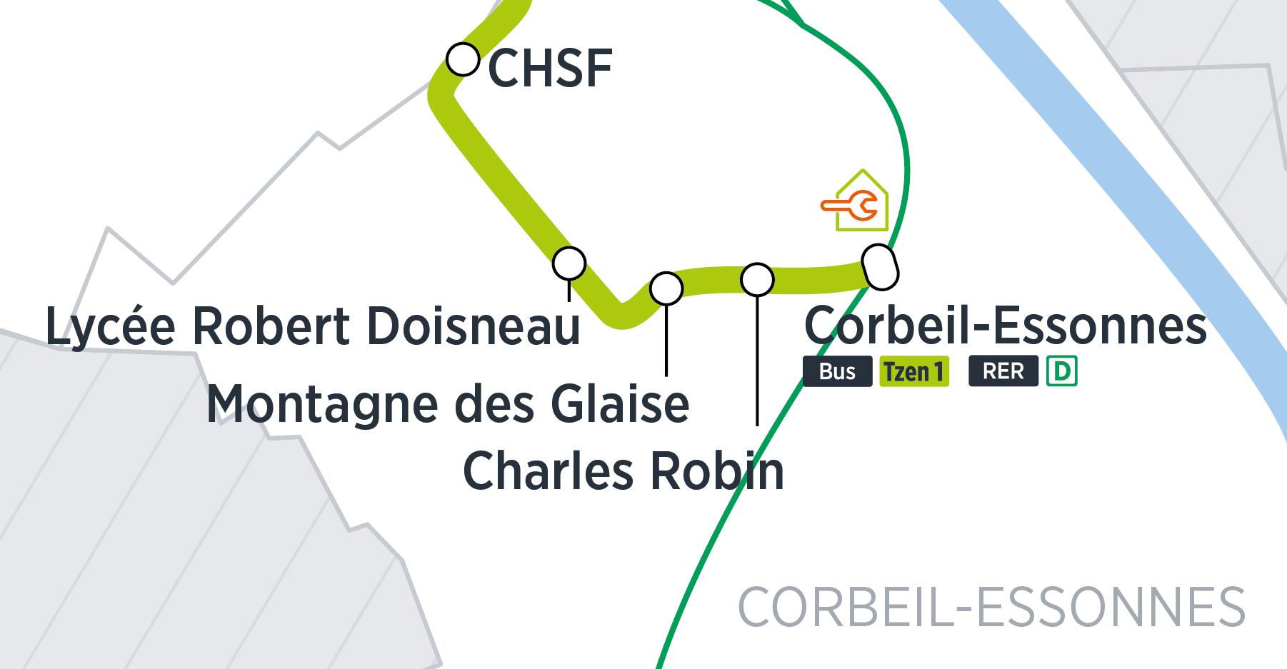 Zoom du tracé sur Corbeil-Essonnes