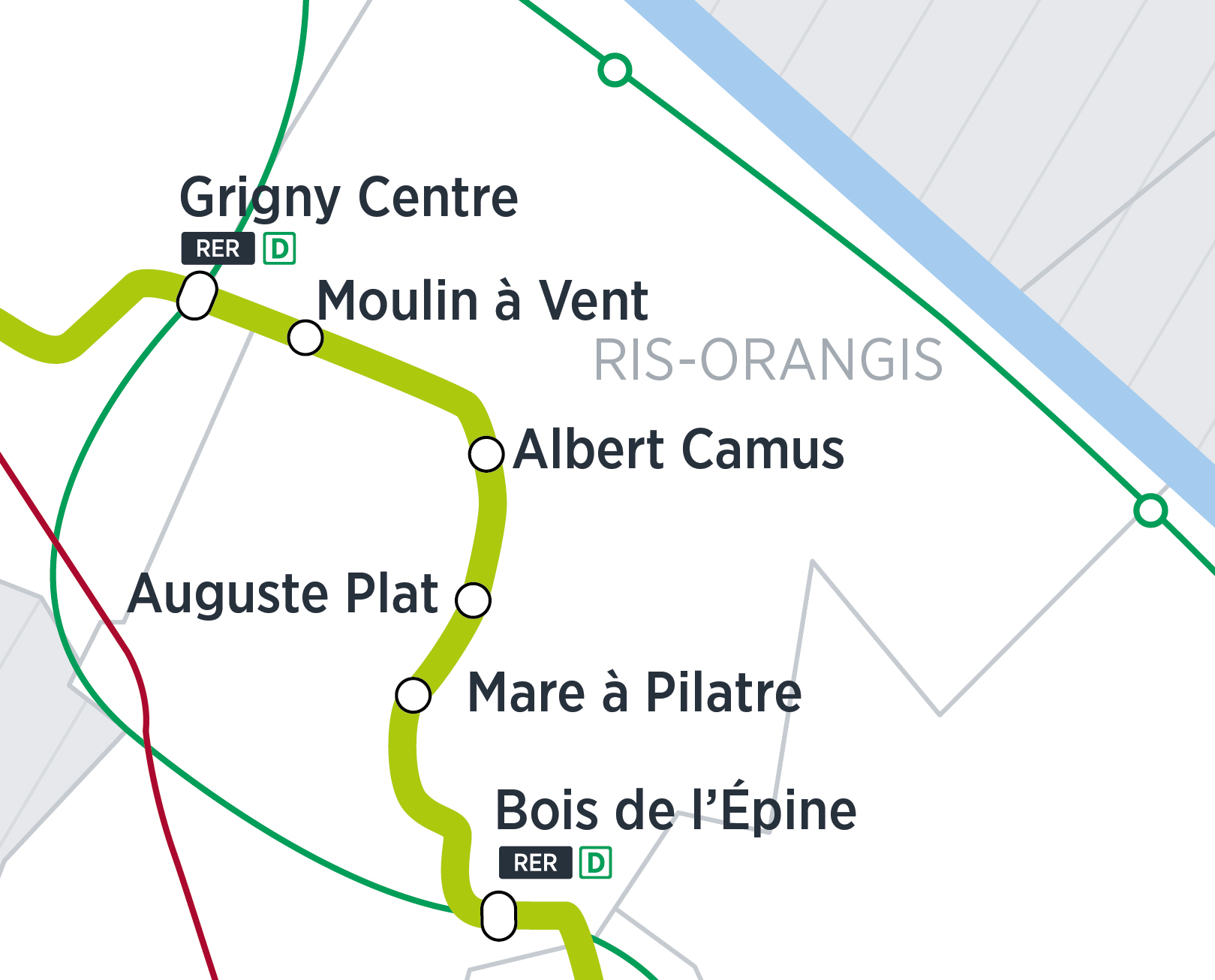 Zoom du tracé sur Ris Orangis