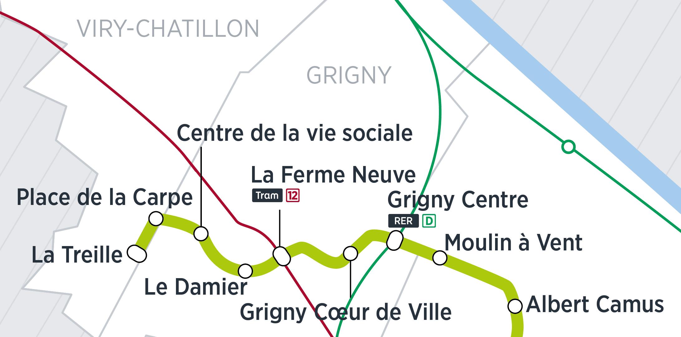 Zoom du tracé sur Viry-Grigny