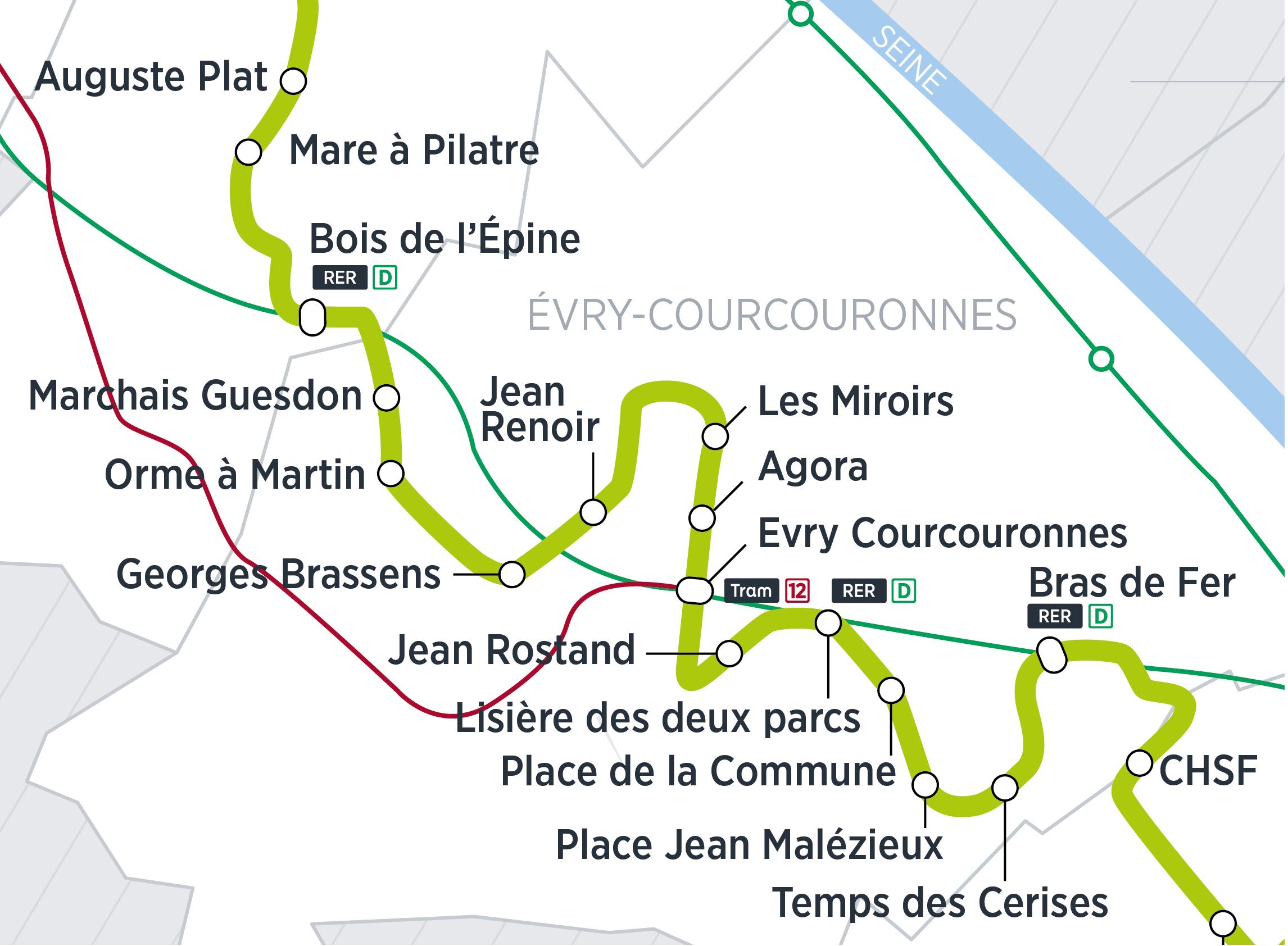Zoom du tracé sur Evry-courcouronnes